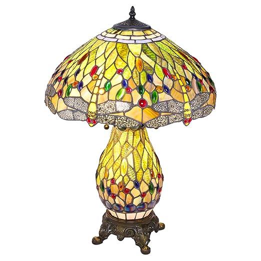 Amazon.com: Libélula verde Estilo Tiffany lámpara de mesa de ...