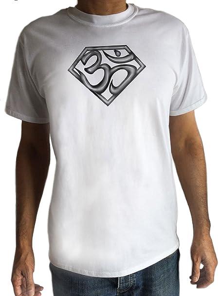 Amazon.com: De los hombres playera blanca super Om Superman ...