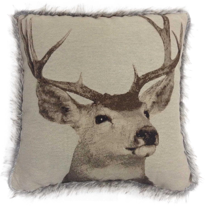 Velosso Tapestry Stag 43cm x 43cm Cushion Cover Faux Fur Trim Edge