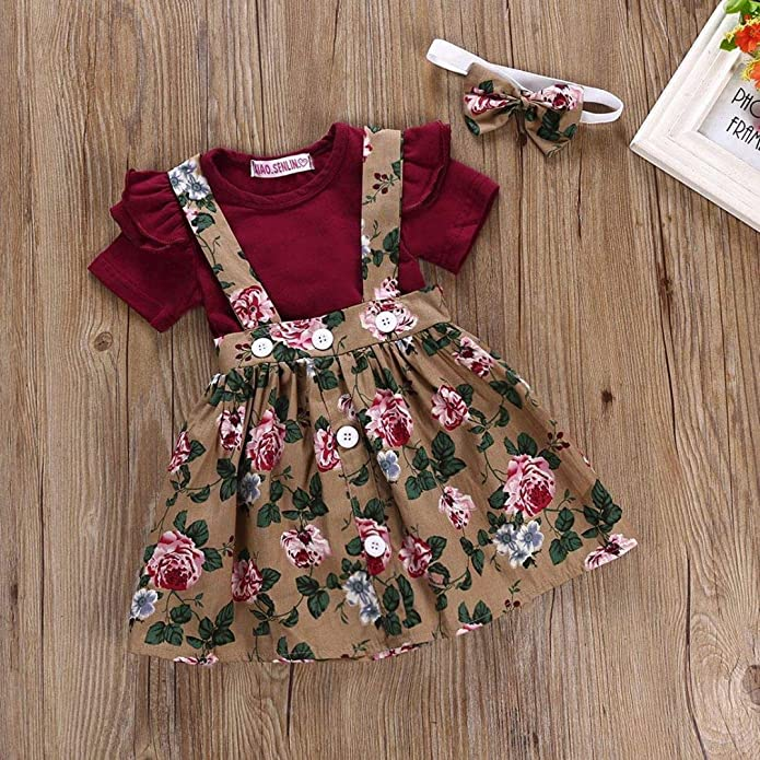 b983afbe422e Amazon.com: 3Pcs Infant Toddler Baby Girls Summer Boho Floral Romper  Jumpsuit Strap Skirt Overall Dress Outfits Set Headband: Shoes