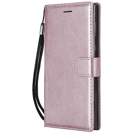 DENDICO Funda Sony Xperia L1, Flip Libro Cuero Carcasa, Diseño Clásico Funda Plegable Cover para Sony Xperia L1 - Rosa