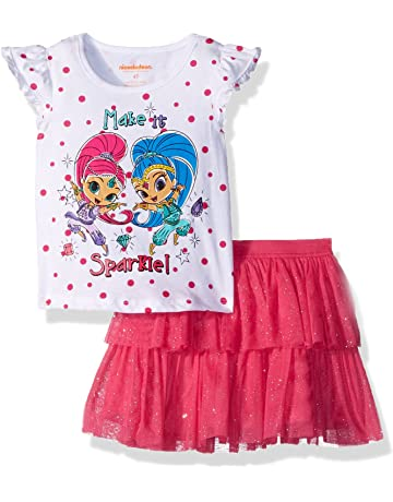 63950d221 Nickelodeon Girls' Shimmer and Shine 2 Piece Skirt Set