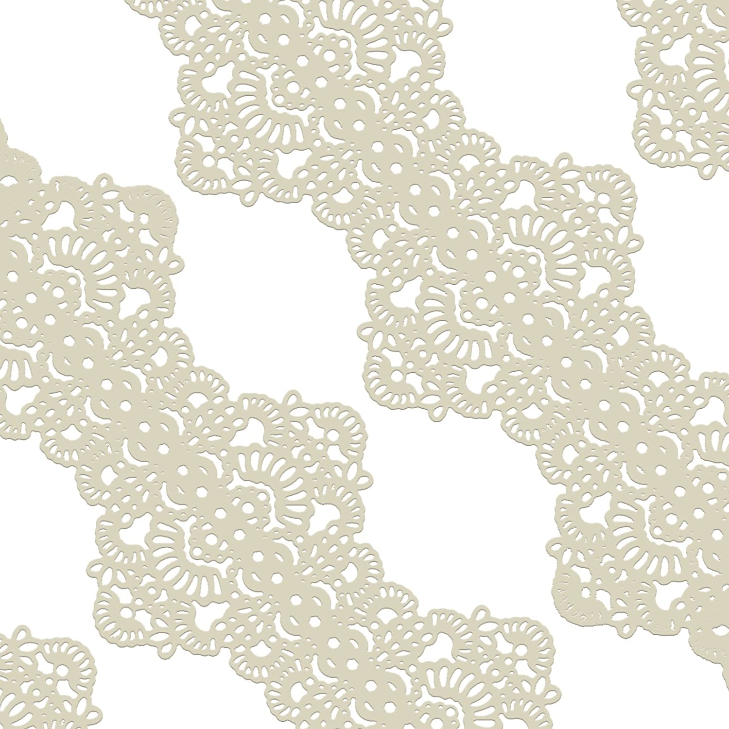Funshowcase Large Pre-Made Ready to Use Edible Cake Lace Art Nouveau Style Applique Ivory White 14-inch 10-piece Set