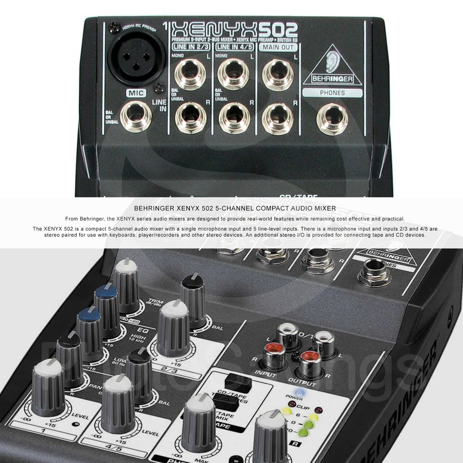 Behringer XENYX 502 5-Channel Audio Mixer and Platinum Bundle w/Stereo Headphones, Home Recording for Musicians for Dummies, 5X Cables, and Fibertique Cloth by Photo Savings (Image #2)
