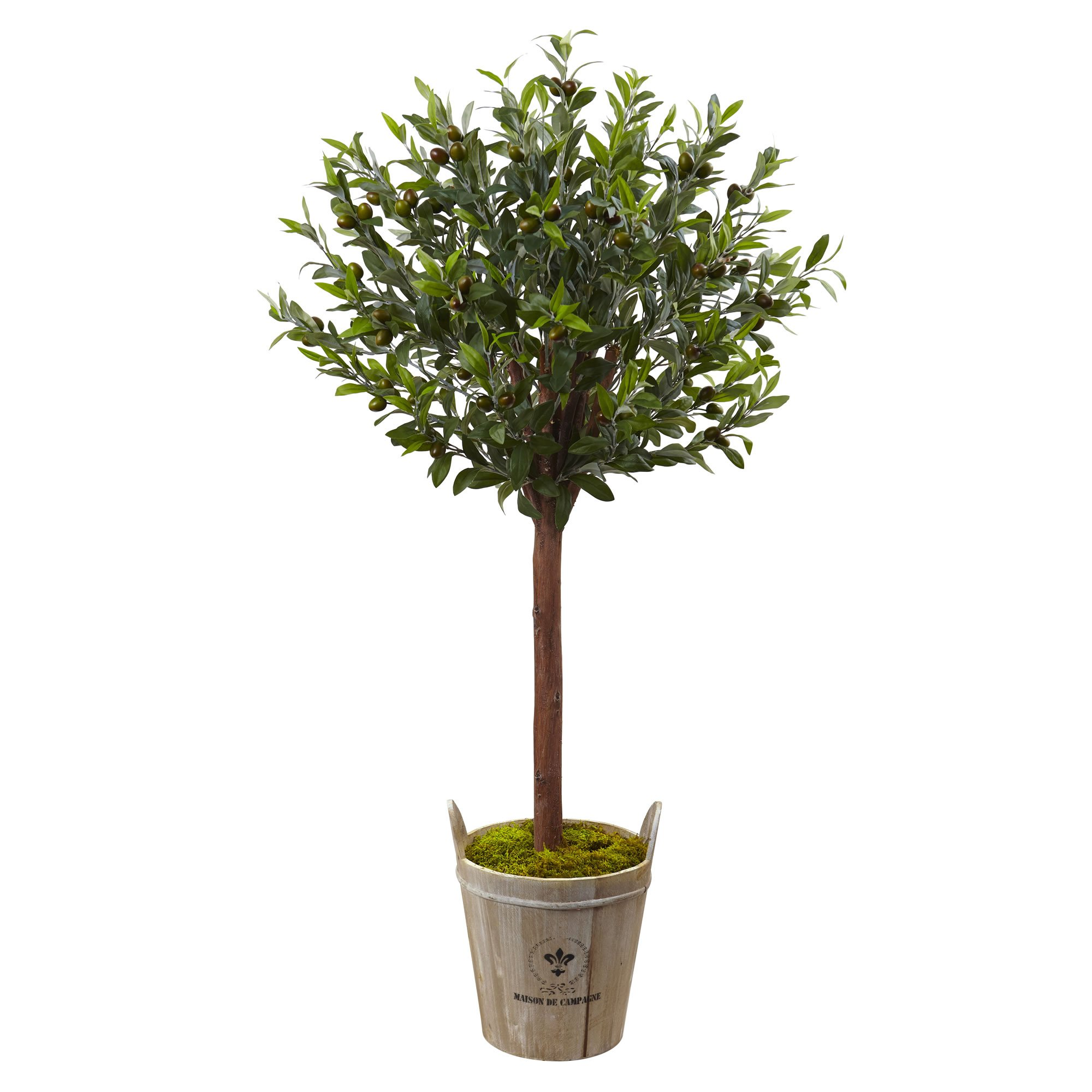 Nearly Natural 5960 4.5' Olive Topiary Tree with European Barrel Planter