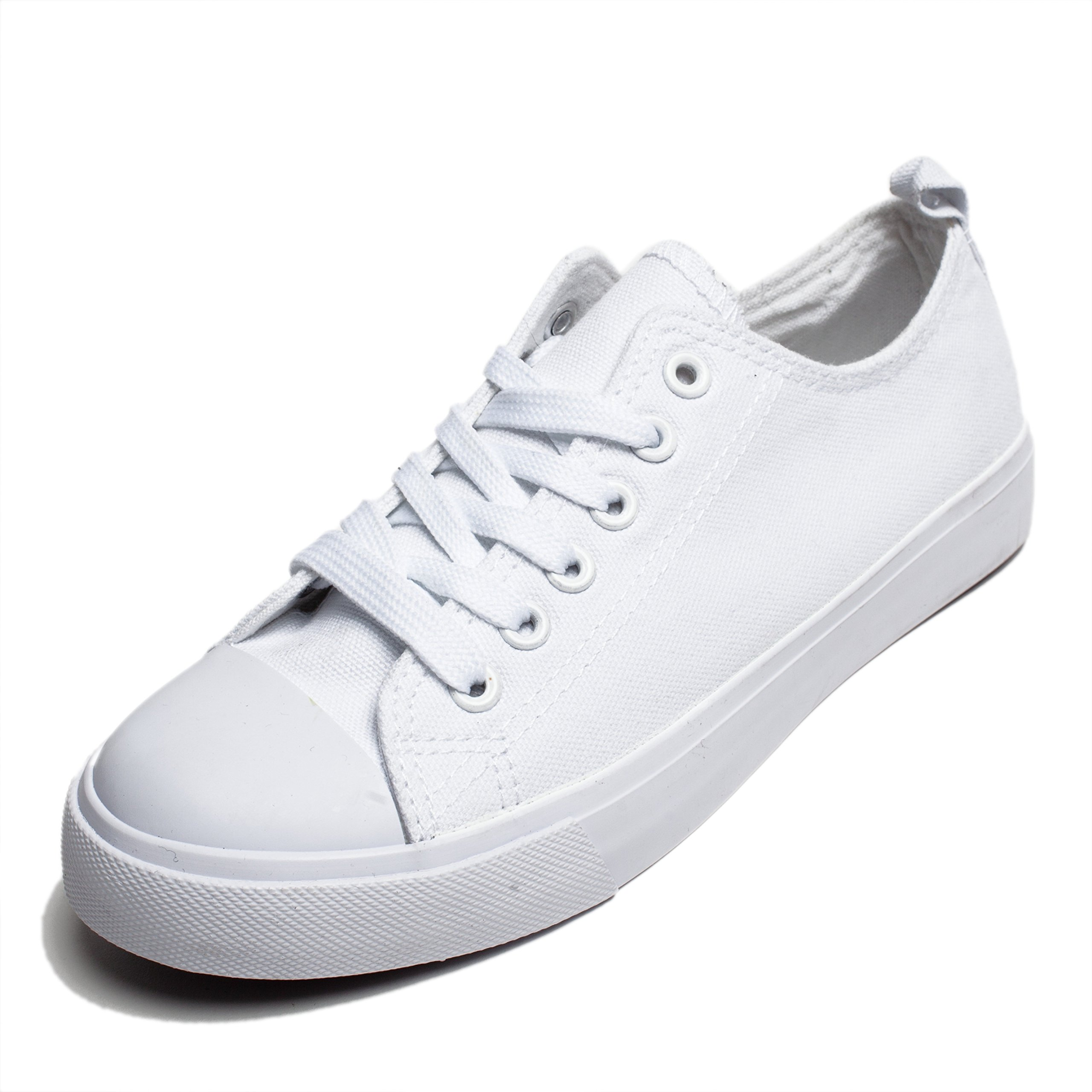 Women Canvas Sneakers, Low Cut Low Top Lace up Flat Fashion Sneaker, Casual Cap Toe Shoes for Girls, Trainers Classic (8, White)