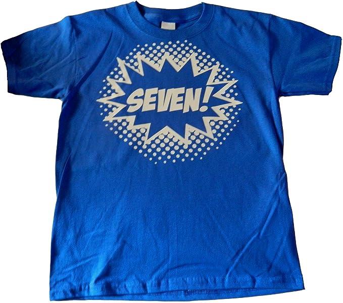 Custom Kingdom Big Boys Seven Superhero 7th Birthday T Shirt Small 6