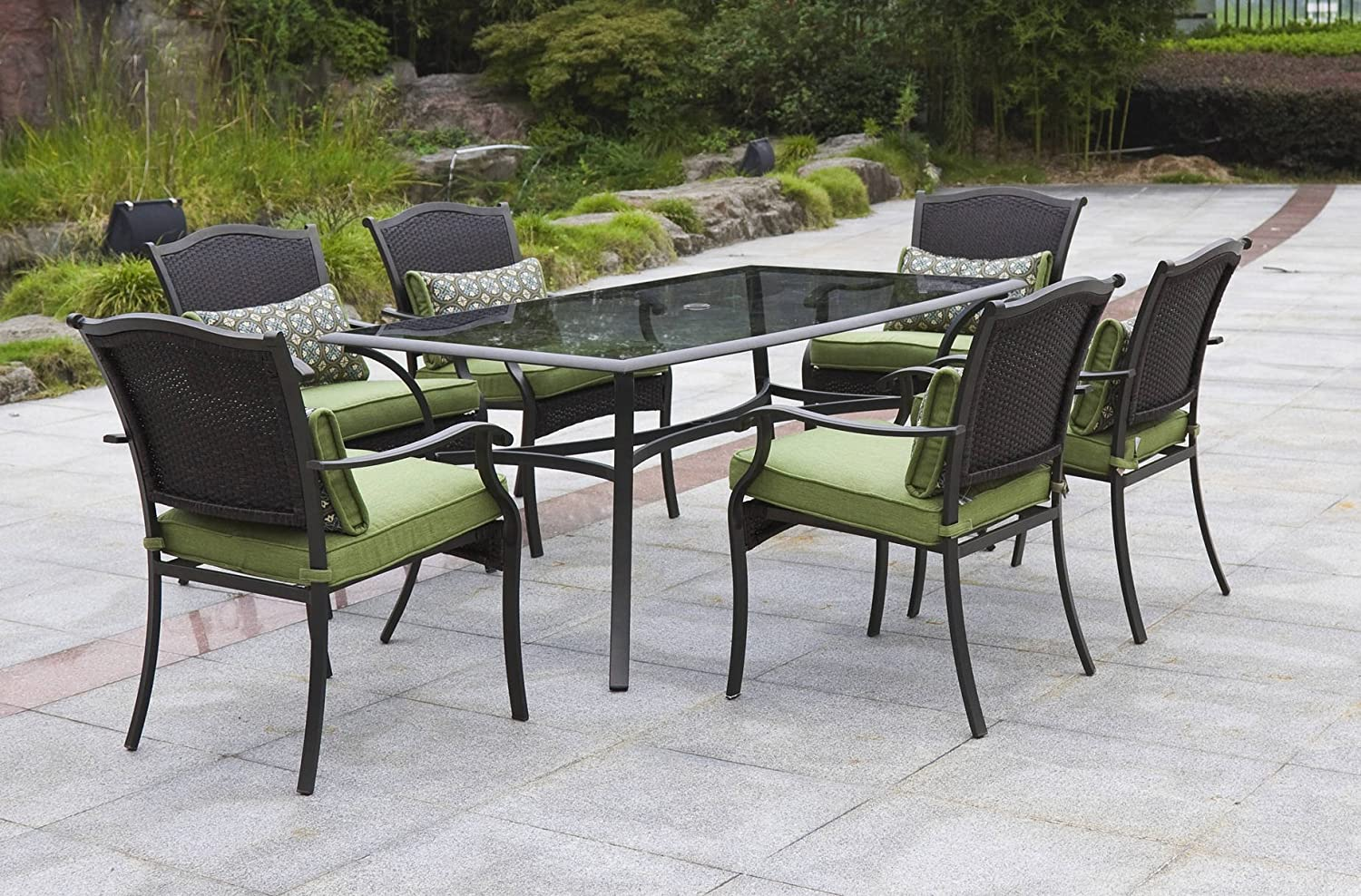 Patio furniture 7 piece dining set garden oasis rockford 7 for Outdoor furniture 7 piece