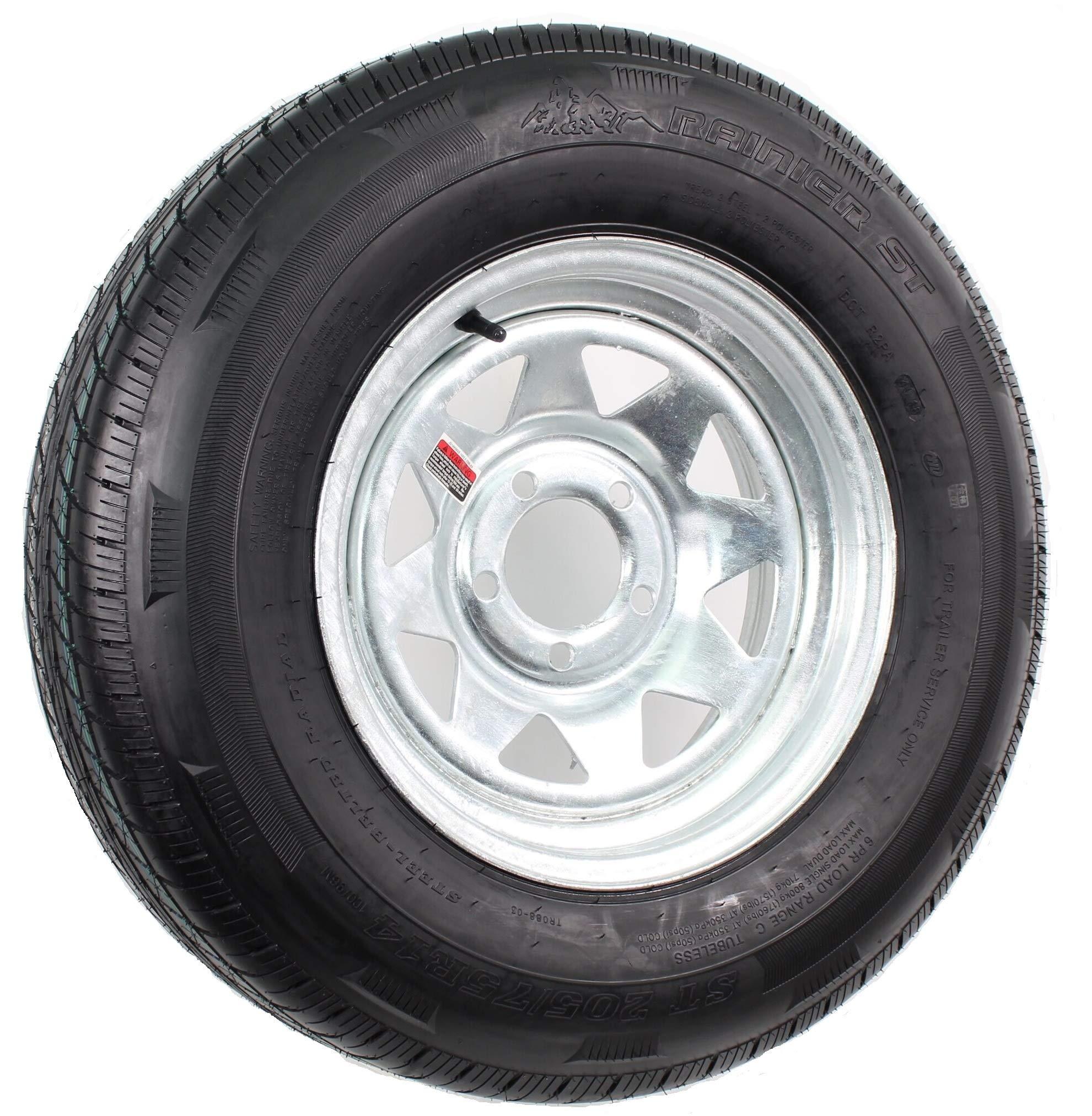 Rainier ST ST205/75R14 LRC 6 PR Radial Trailer Tire on 14'' 5 Lug Galvanized Spoke Trailer Wheel by Rainier ST