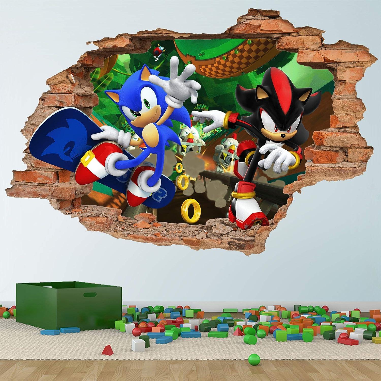 Sonic And Shadow Hedgehog 3d Wall Decal Wall Sticker Removable Vinyl Sticker Kids Room Wall Art Children Cartoon Decor Amazon Co Uk Kitchen Home