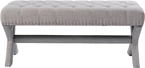Iconic Home Buzz Modern Contemporary X-Leg Button Tufted Light Grey Linen Bench