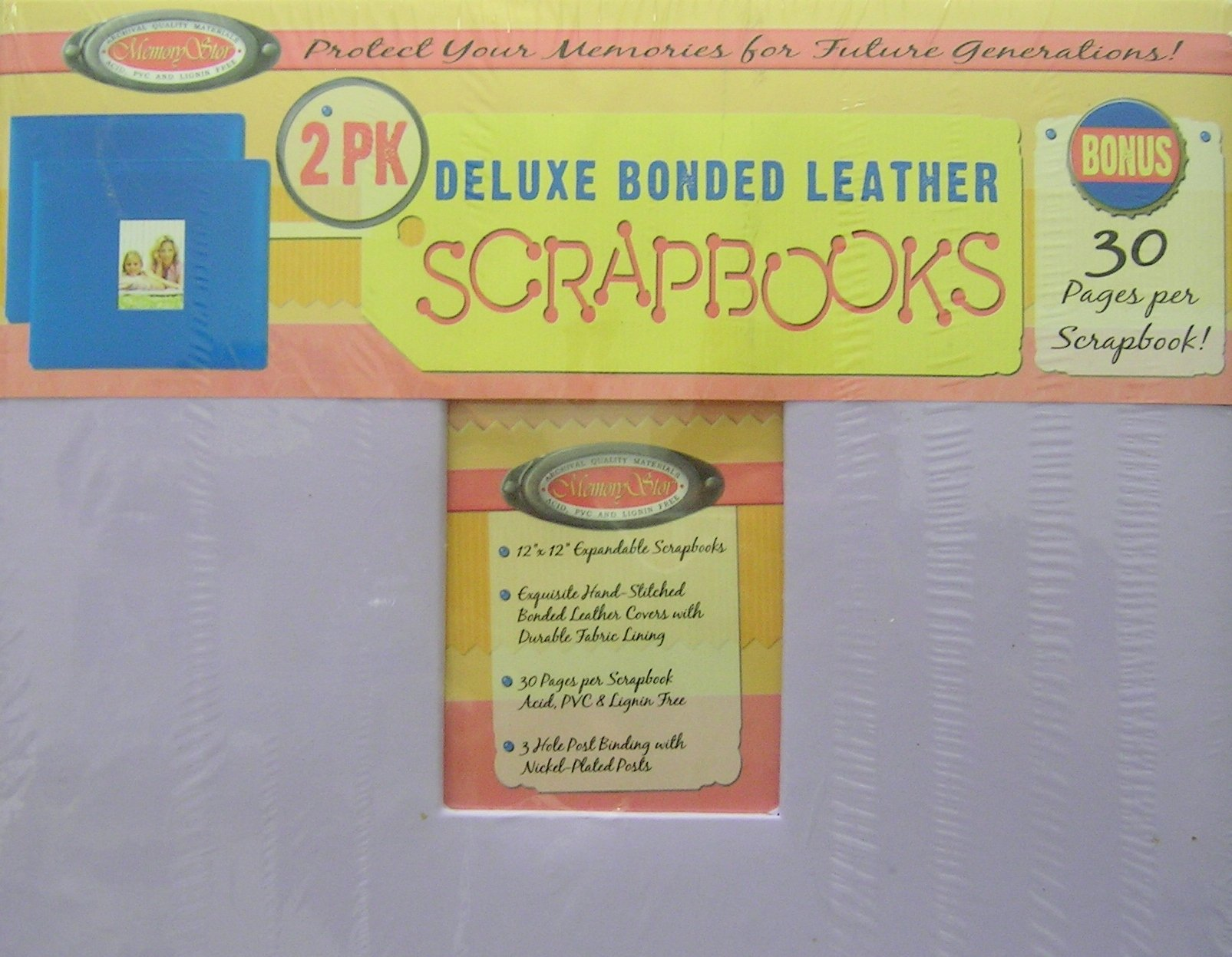 Memory Stor 2pk Deluxe Bonded Leather Scrapbook