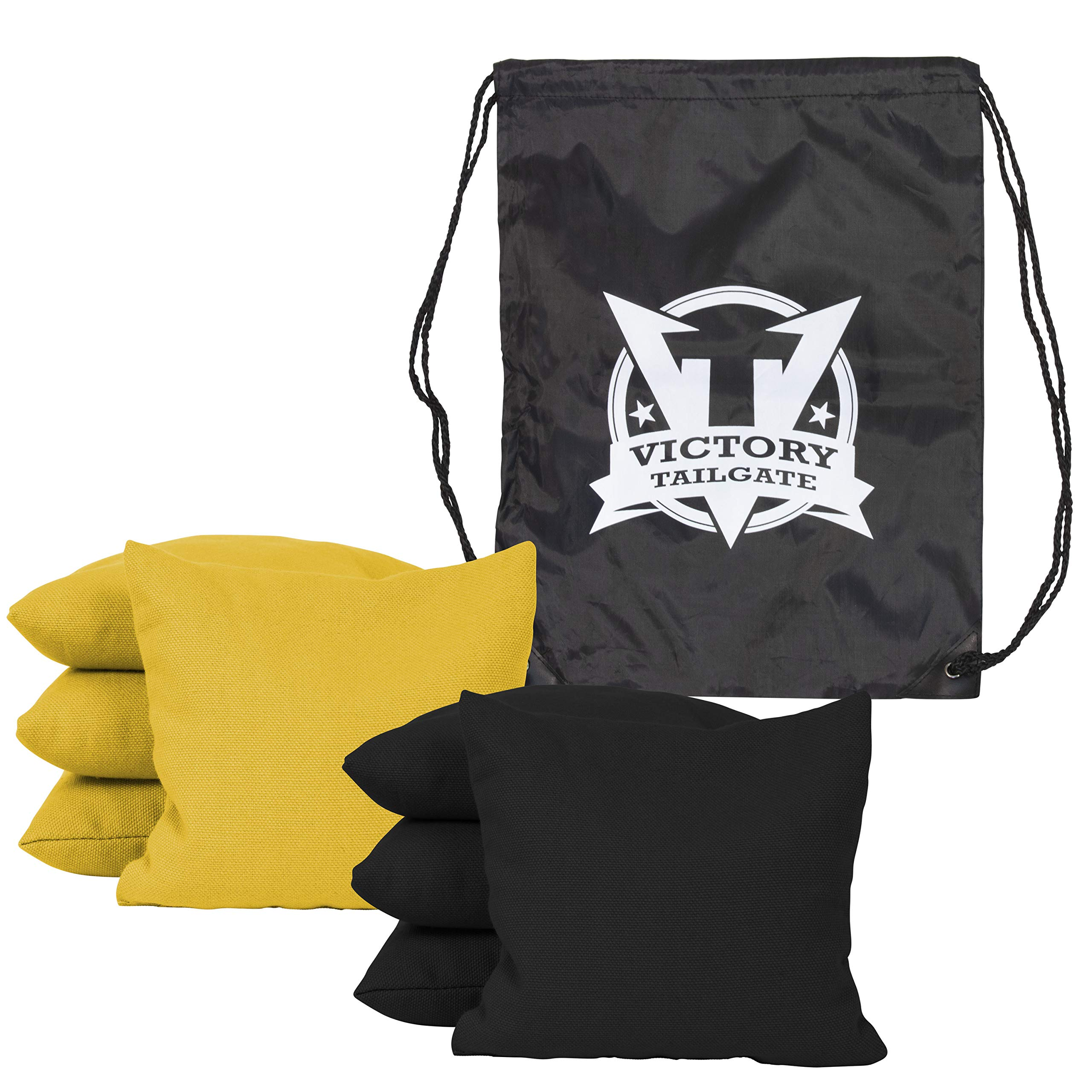 Victory Tailgate 8 Colored Corn Filled Regulation Cornhole Bags with Drawstring Pack (4 Black, 4 Yellow)