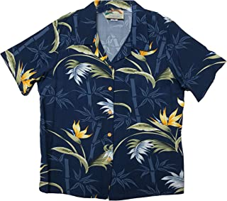 product image for Paradise Found Women's Bamboo Paradise Aloha Shirt, Navy Blue, S