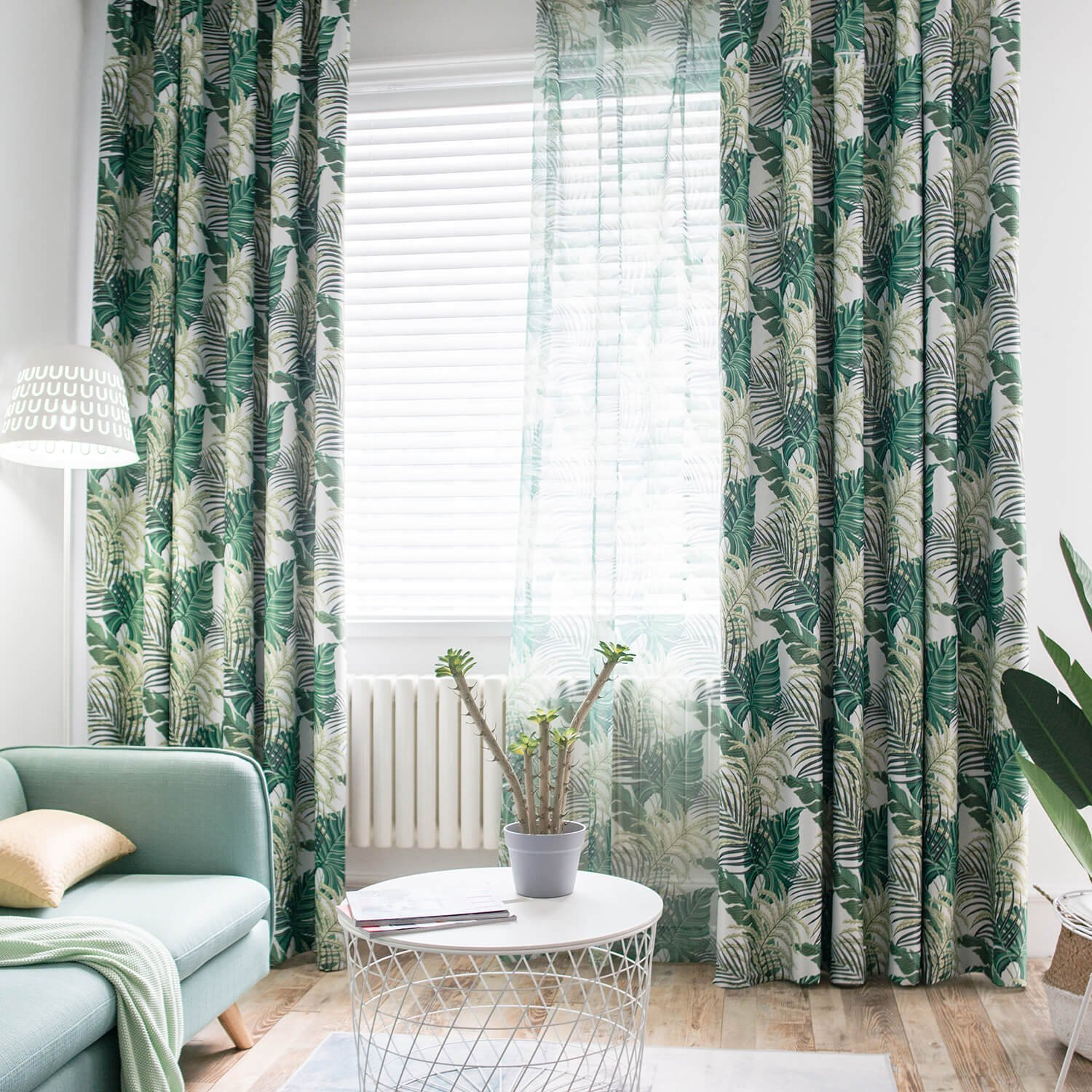 VOGOL Floral Leaves Printed Blackout Curtains, Thermal Insulated Noise Reduction Curtain Drapes Panels for Bedroom Hotel Living Room, 2 Panels, W60 x L106 inch, Green