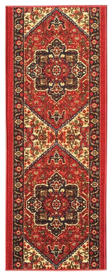 Kapaqua Custom Size RED Persian Medallion Rubber Backed Non Slip Hallway Stair  Runner Rug Carpet