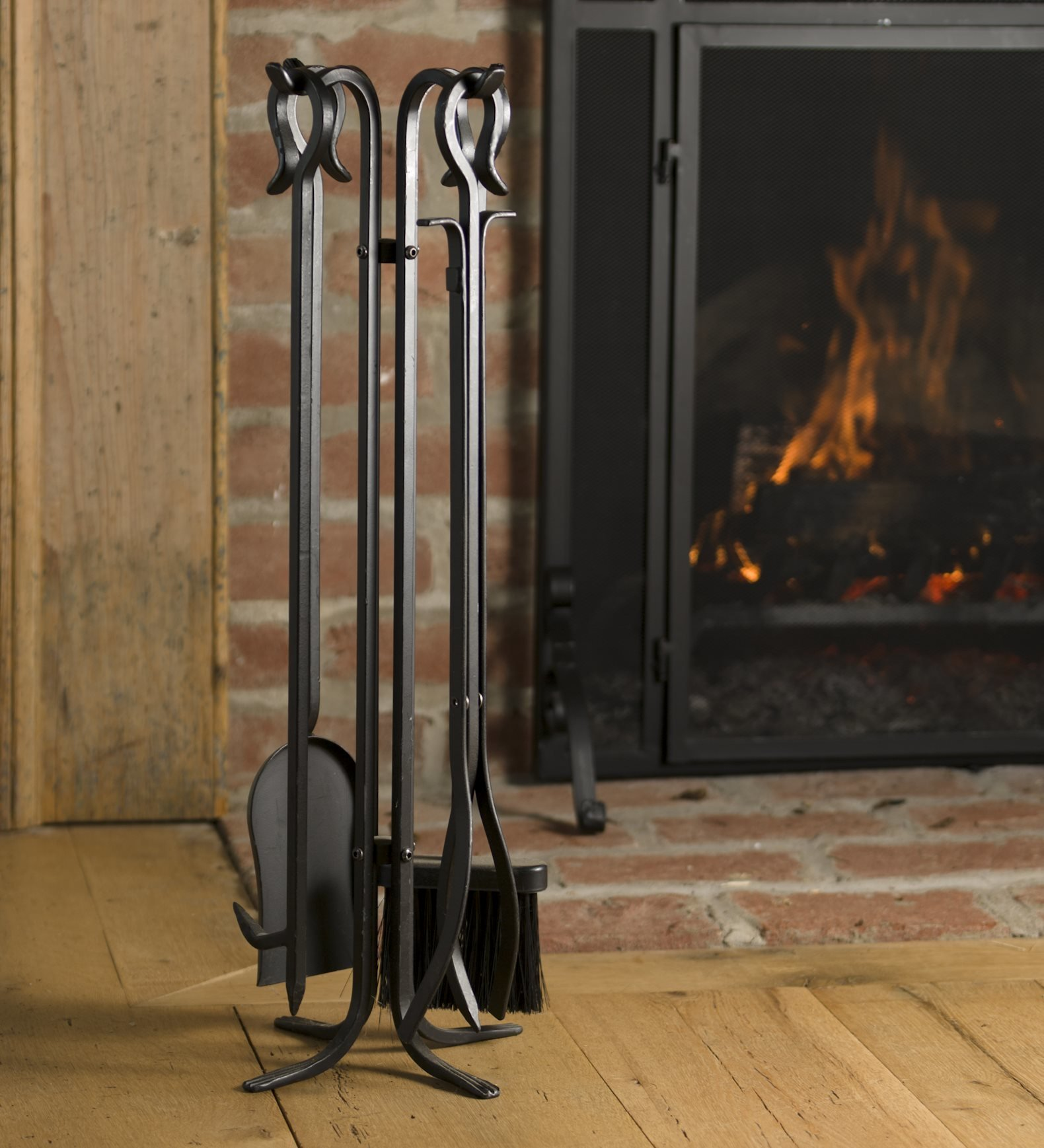 Plow & Hearth 5 Piece Hand Forged Iron Fireplace Tool Set with Poker, Tongs, Shovel, Broom, and Stand 7-in Diam. x 27.5 H Black by Plow & Hearth