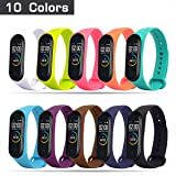 HITO 10pcs Xiaomi Mi Band 3/4 Strap Replacement, Soft Silicone Strap Wristband WatchBand Accessories for Xiaomi Mi Band 3/4 (Waterproof, Wearable, Breathable)