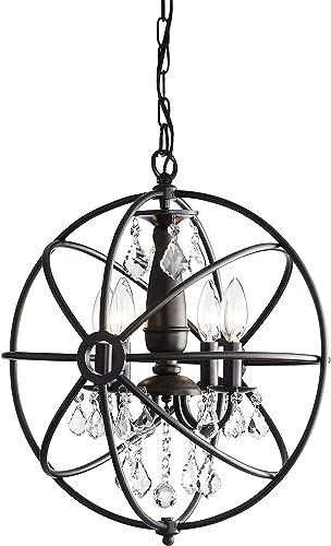 Benita Antique Black 4-Light Iron Orb Crystal Chandelier