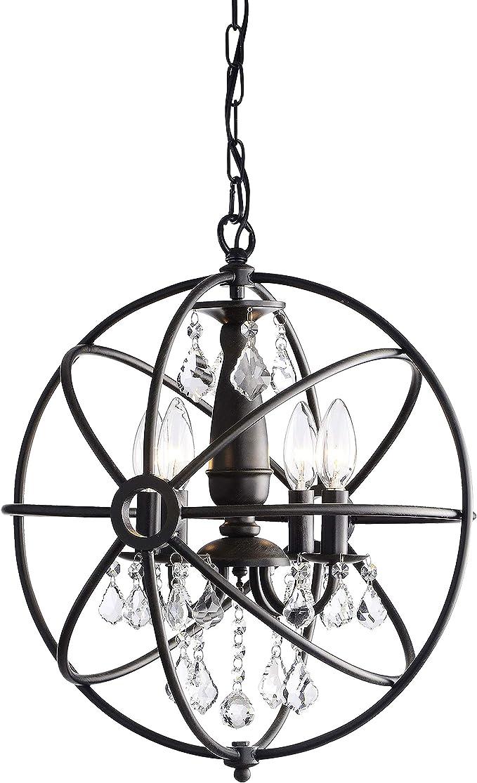 Benita Antique Black 4 Light Iron Orb Crystal Chandelier