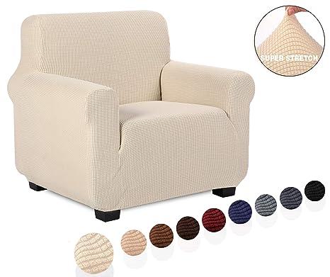 TIANSHU Funda de sillón,Material Jacquard poliéster y Elastano Fundas de sofá Suaves Resistentes(Funda de sillón,Marfil)