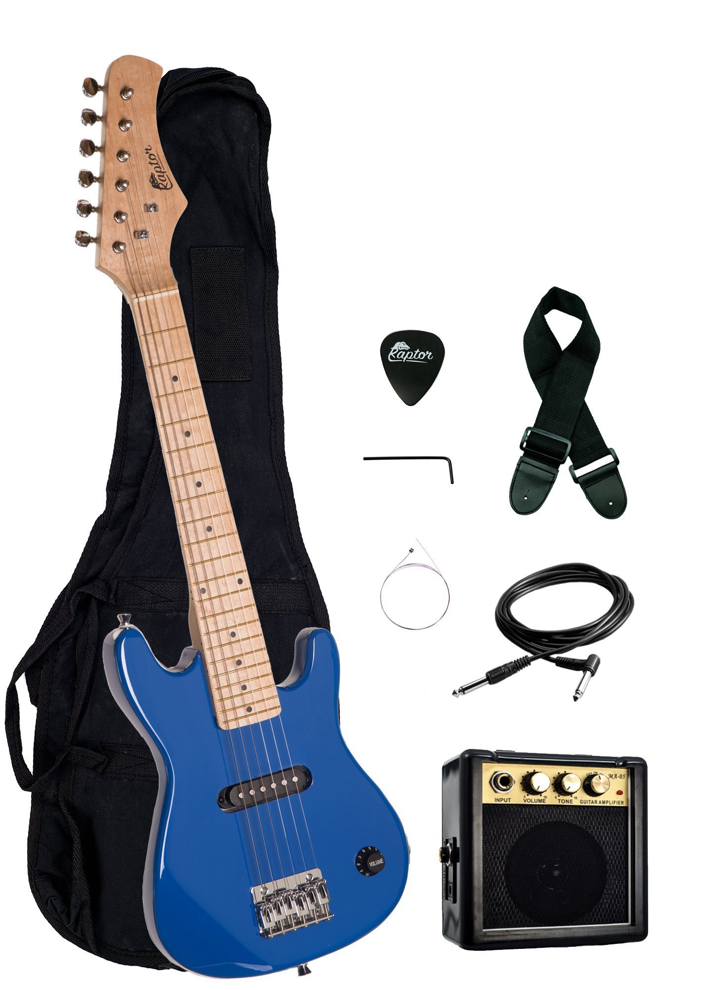 Raptor EP3 30'' Kids 1/2 Size Electric Guitar Package with Portable 3W Amp, Gig Bag, Strap, Cable and Raptor Picks - BLUE