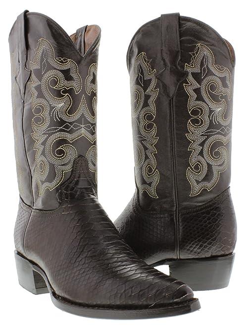 Texas Legacy - Men's Brown Python Snake Print Leather Cowboy Boots J Toe