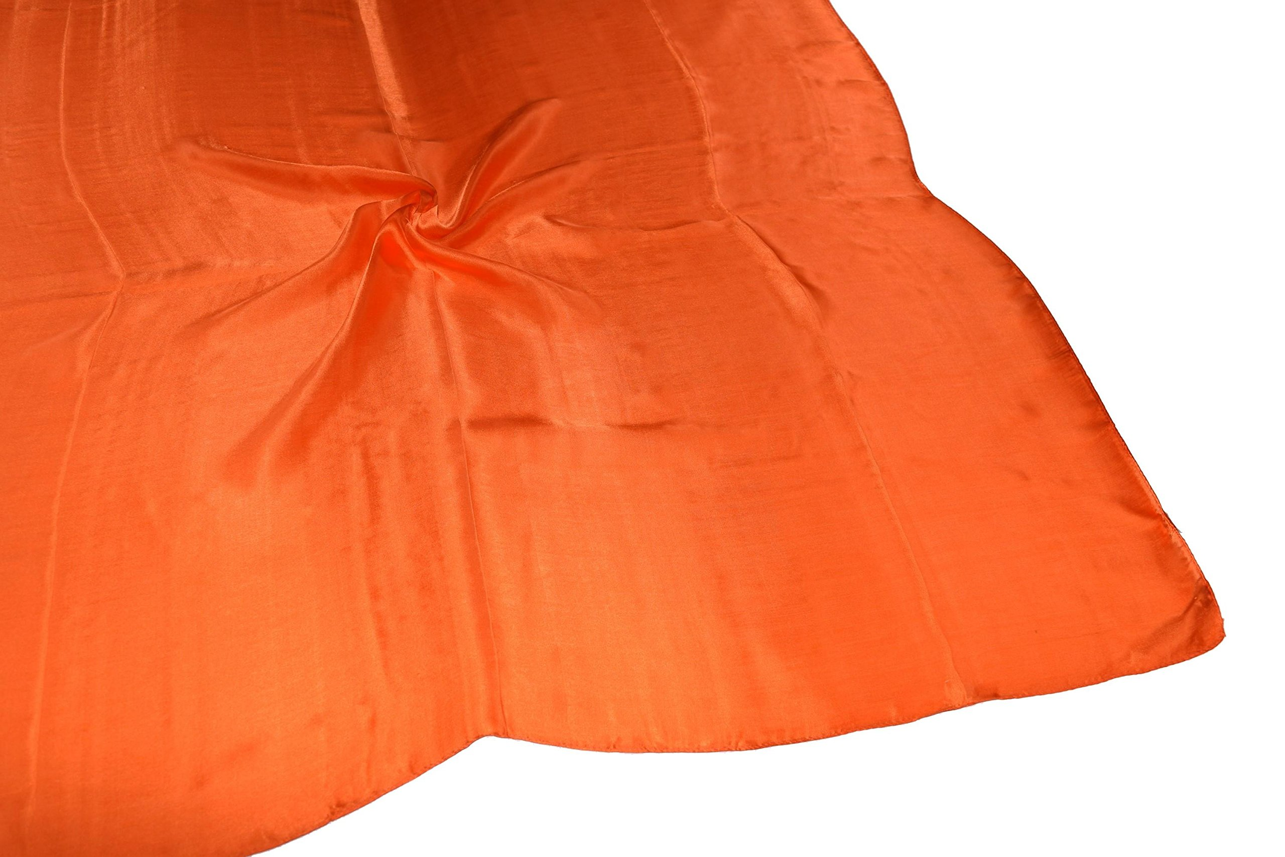 Orange Fine Silk Square Scarf by Bees Knees Fashion (Image #4)