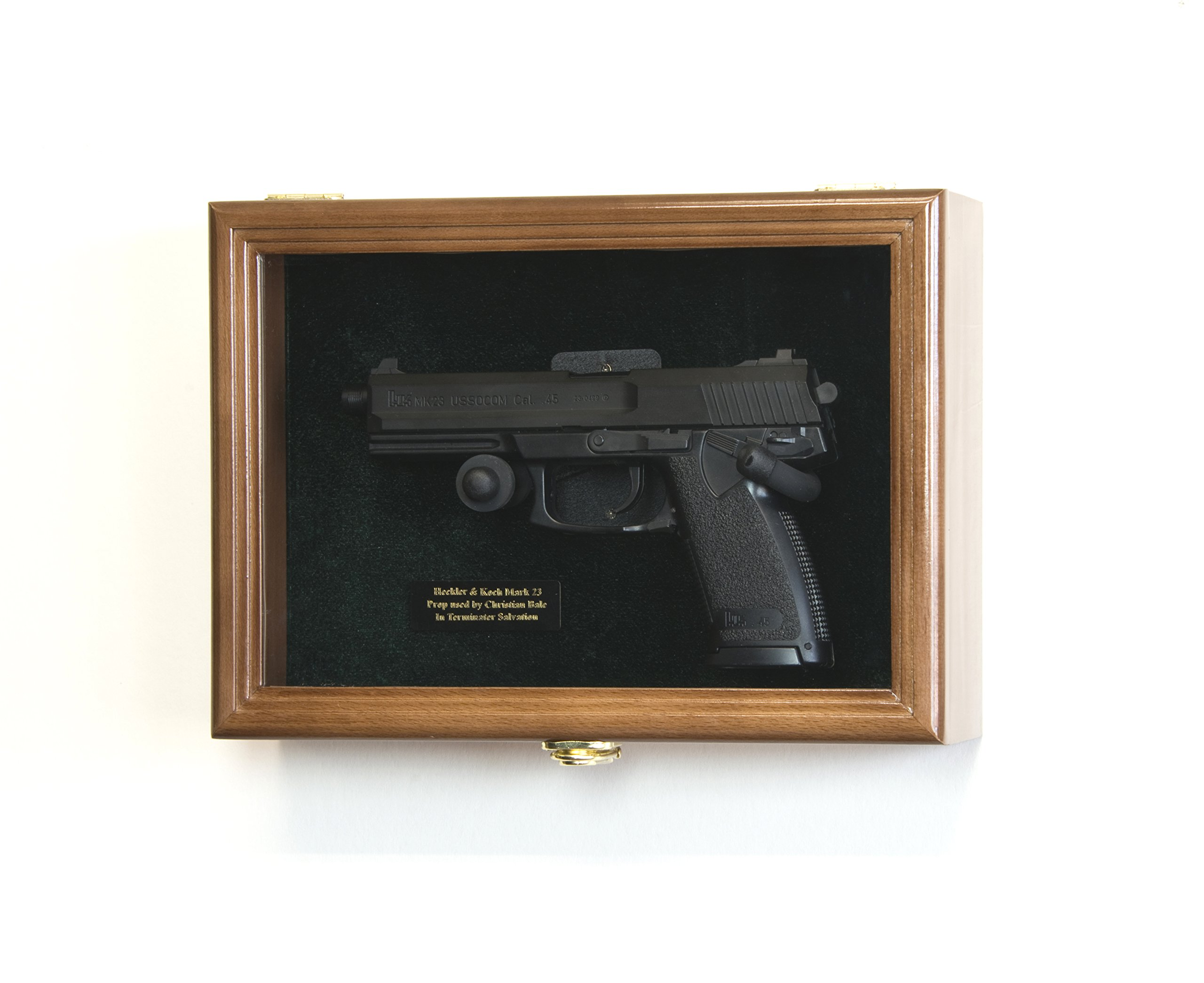 Single Pistol Display Case Wall Mount Solid Hardwood Cabinet (Walnut Finish, Green Felt Background) by sfDisplay.com, Factory Direct Display Cases
