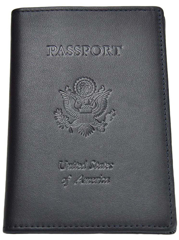 Royce Debossed Leather RFID - blocking Passport Jacket (One Size, Blue)