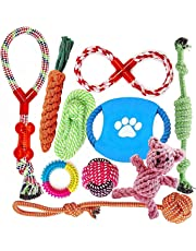 Dog Toys for Aggressive Chewers | Multiple Types Dog Rope Toys | Interesting Interactive Dog Toys | for Small to Medium Dogs | Safe and Healthy | Best Dog Gift Set 10 Pack (Blue)