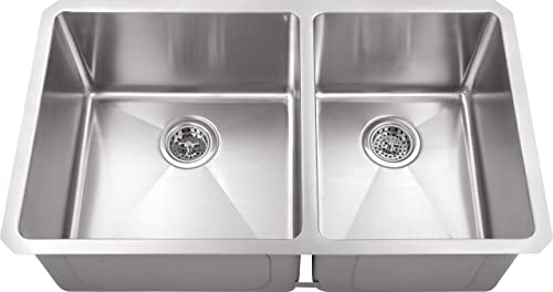 MSRA6040P 60 40 32 x19 x10 Double Bowl Tiny Radius 16 Gauge Stainless Steel Sink with Grid Sets and Strainers