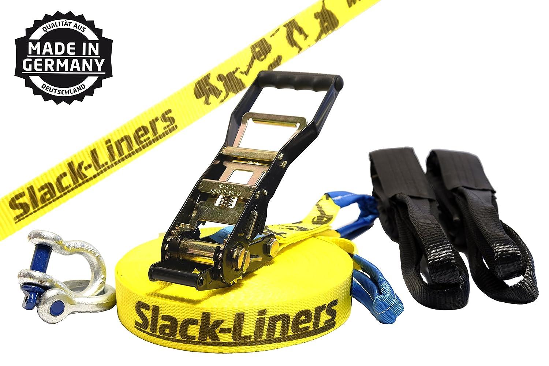 Slack-liners - Cuerda de equilibrista (incluye sistema de agarre, ancho: 50 mm, largo: 30 m), color amarillo Cargo Drechsler Ltd. LINE-GELB-50MM-6TLG-3000-0030