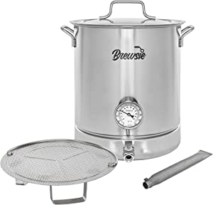 BREWSIE Stainless Steel Home Brew Kettle w/Dual Filtration. Equip with False Bottom Thermometer and Ball Valve for Brewing (8 Gal/ 32 QT)