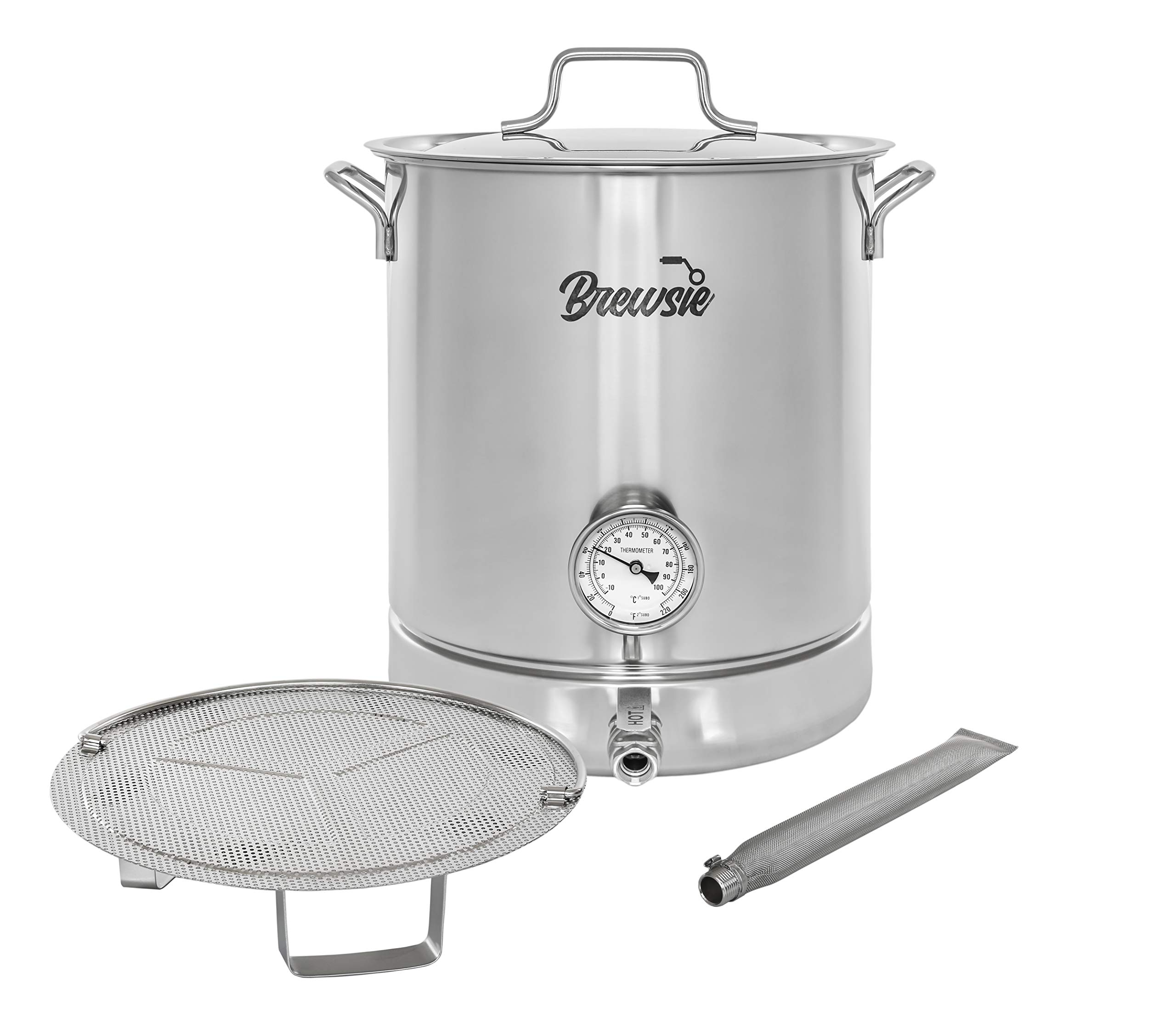 BREWSIE Stainless Steel Home Brew Kettle w/Dual Filtration. Equip with False Bottom Thermometer and Ball Valve for Brewing (10 Gal/ 40 Quart)