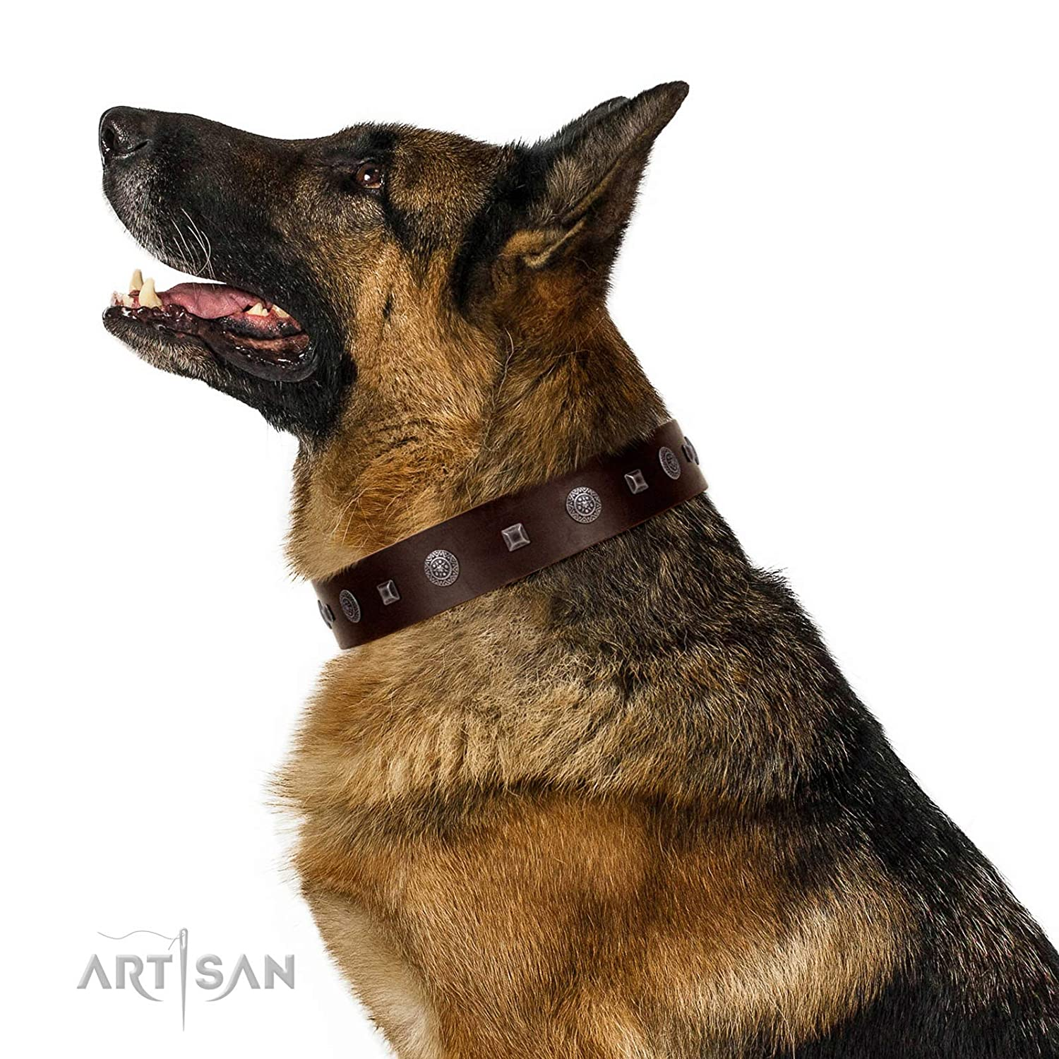 Fits for 23 inch (58cm) dog's neck size FDT Artisan 23 inch Brown Leather Dog Collar with Fancy Brooches and Studs Pure Sensation 1 1 2 inch (40 mm) Wide Gift Packaging Included