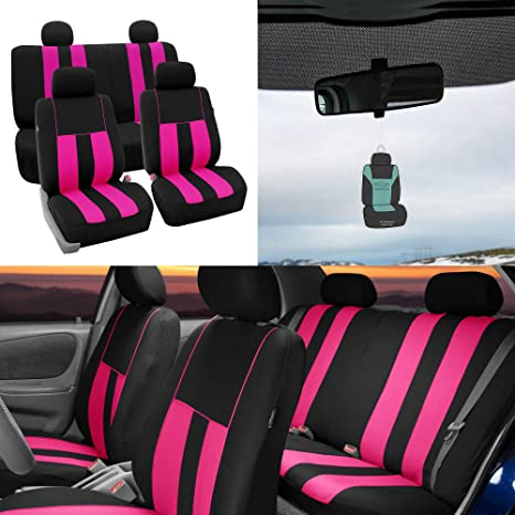 Amazoncom Fh Group Striking Striped Seat Covers Airbag Split