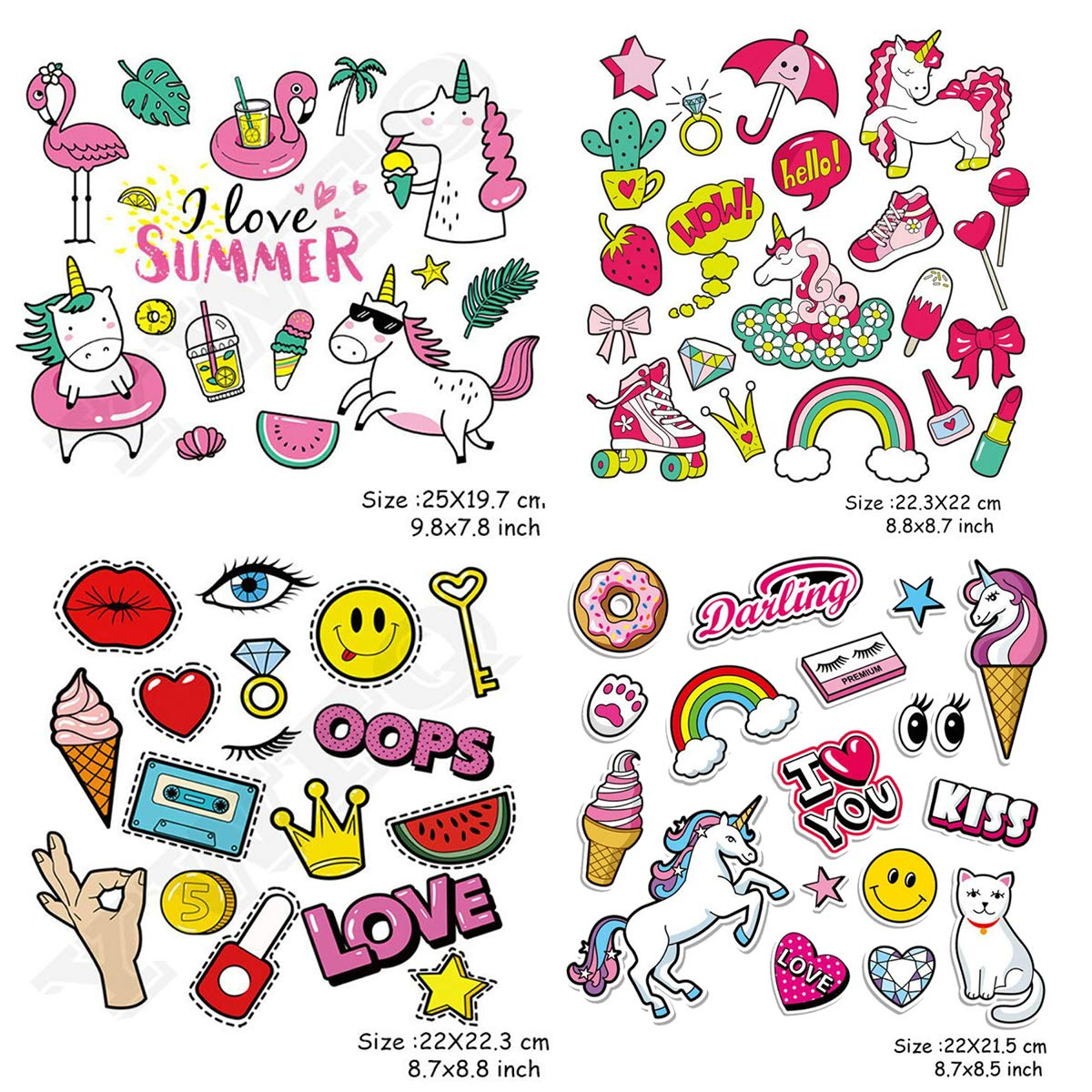 A-Level Washable DIY Brithday Party Appliques Kids Iron On Patches 5 Sets MWOOT Unicorn Cartoon Love Kiss Summer Travel Heat Transfer Stickers for Clothing,T-Shirt,Jeans,Bags