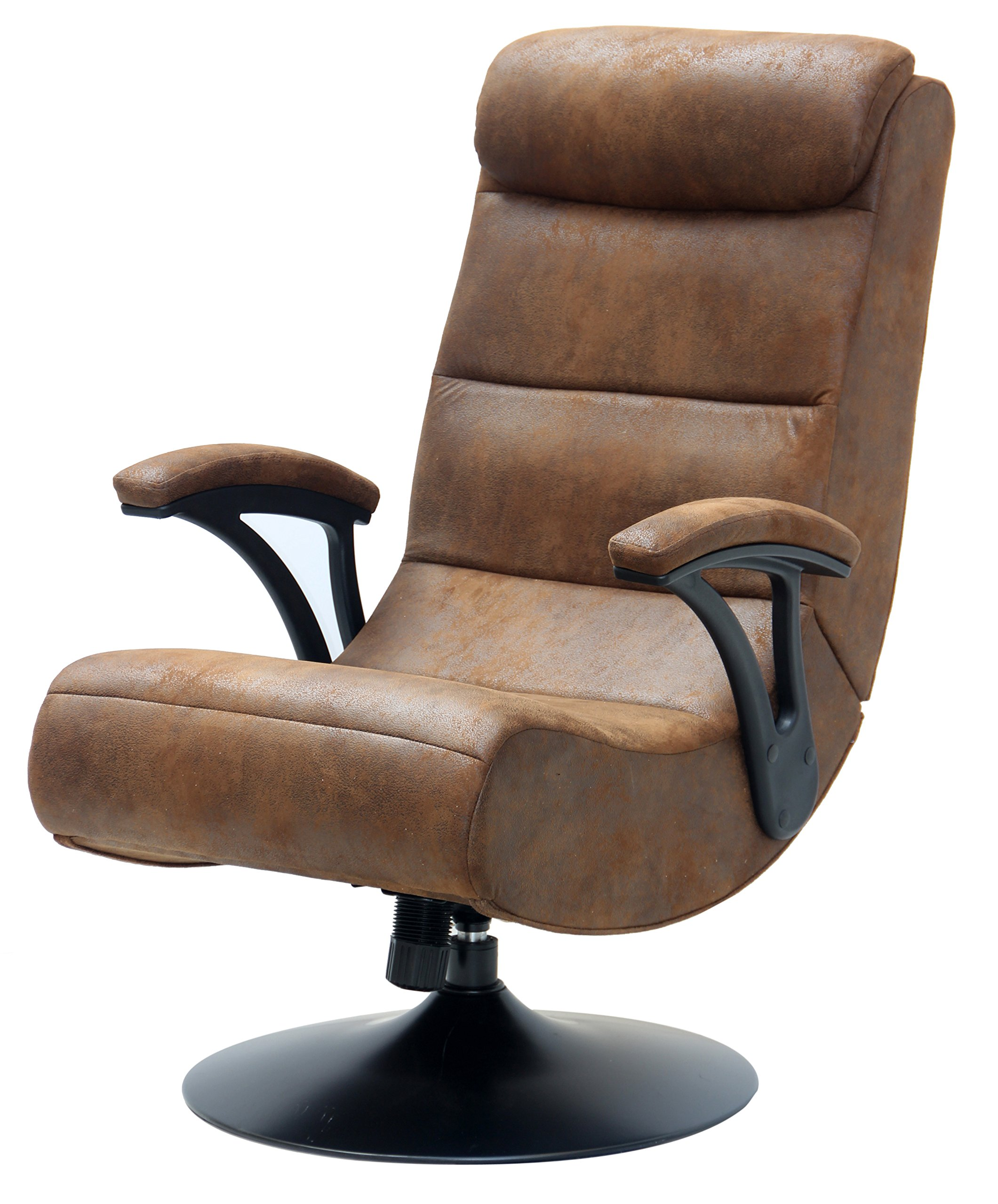 Extreme 2.1 Bluetooth X Rocker Foldable Pedestal Gaming Chair in Distressed Brown Suede