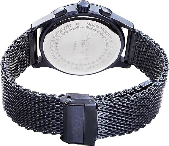 Homme Akribos XXIV AK944BU Mat Bleu 24 Hour Indicateur Maille Bracelet Montre | eBay