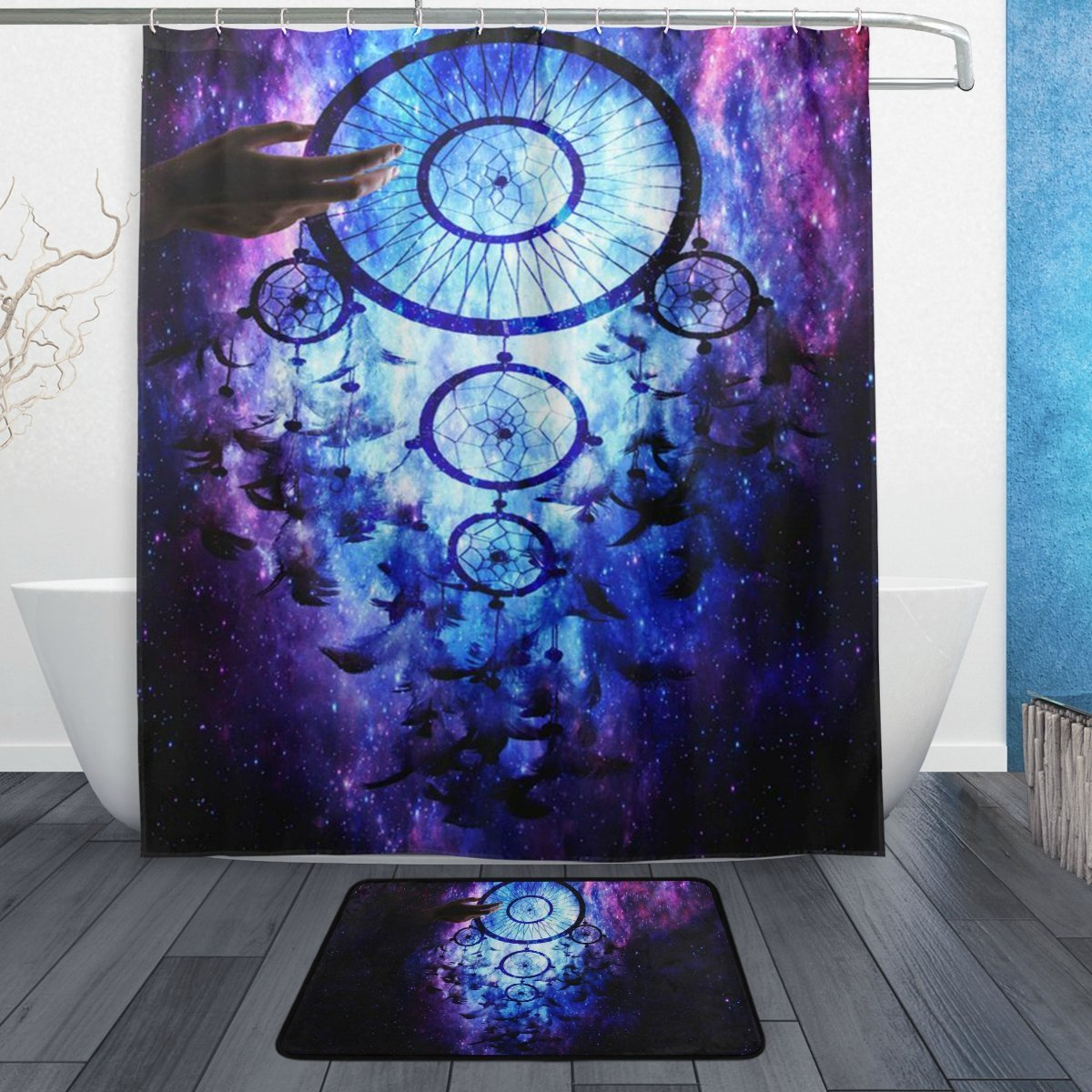 BAIHUISHOP Dream Catchers Galaxy 3-Piece Bathroom Set, Machine Washable for Everyday Use,Includes 60x72 Inch Waterproof Shower Curtain, 12 Shower Hooks and 1 Non-slip Bathroom Rug Carpet - Set of 3