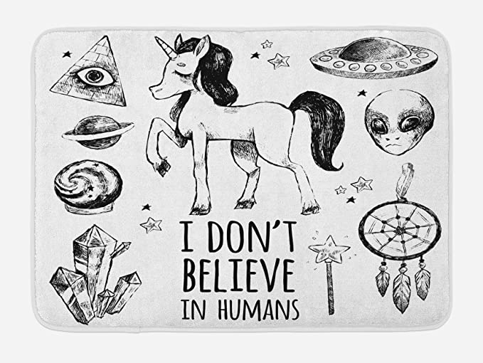 Amazon Com Ambesonne Unicorn Bath Mat Mysticism Occult Featured Set With Pyramids Aliens Dream Catcher Grunge Print Artwork Plush Bathroom Decor Mat With Non Slip Backing 29 5 X 17 5 Black Kitchen Dining
