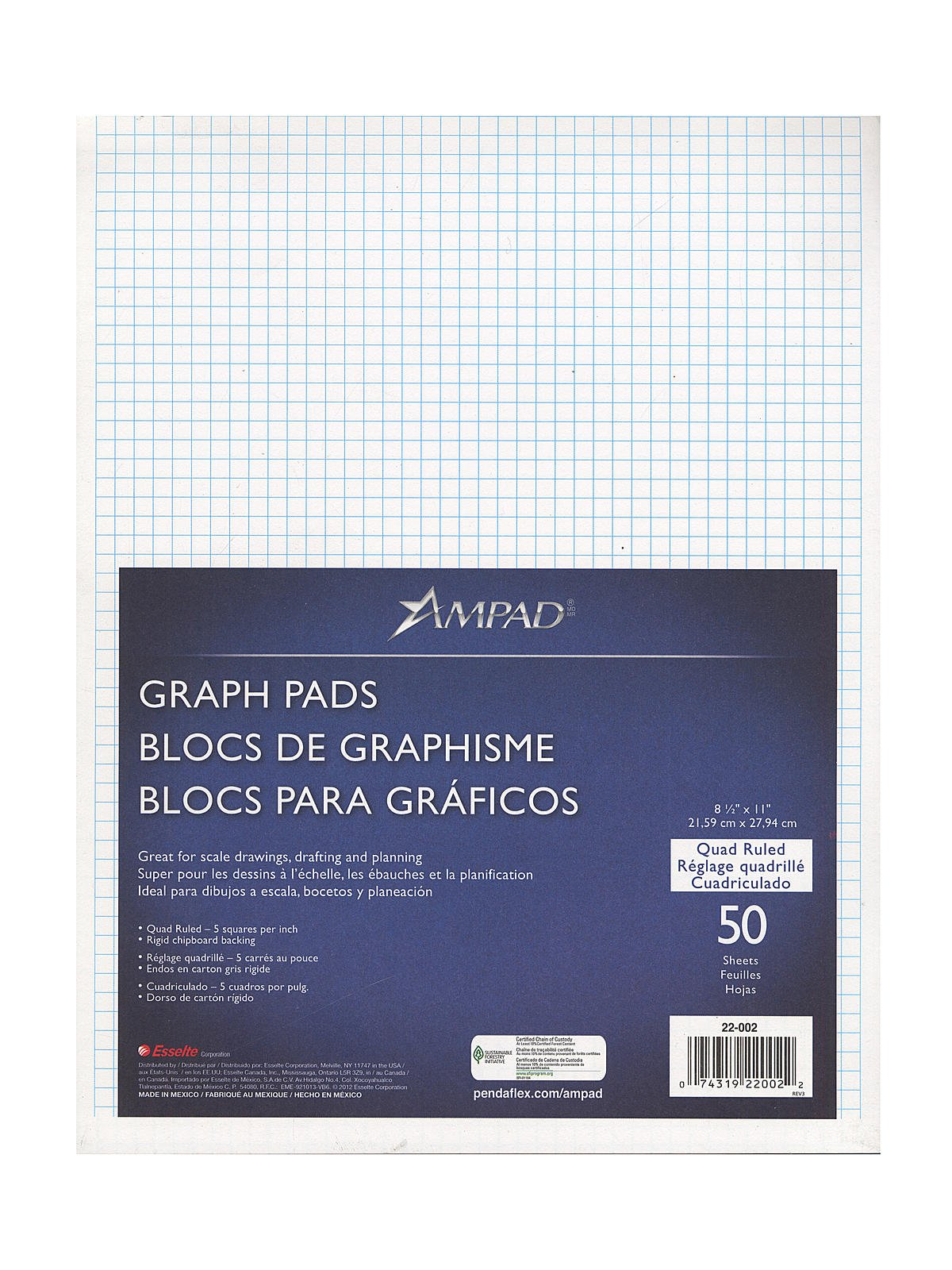 Ampad Evidence Quad Pads 5 x 5 8 1/2 in. x 11 in. [PACK OF 5 ]