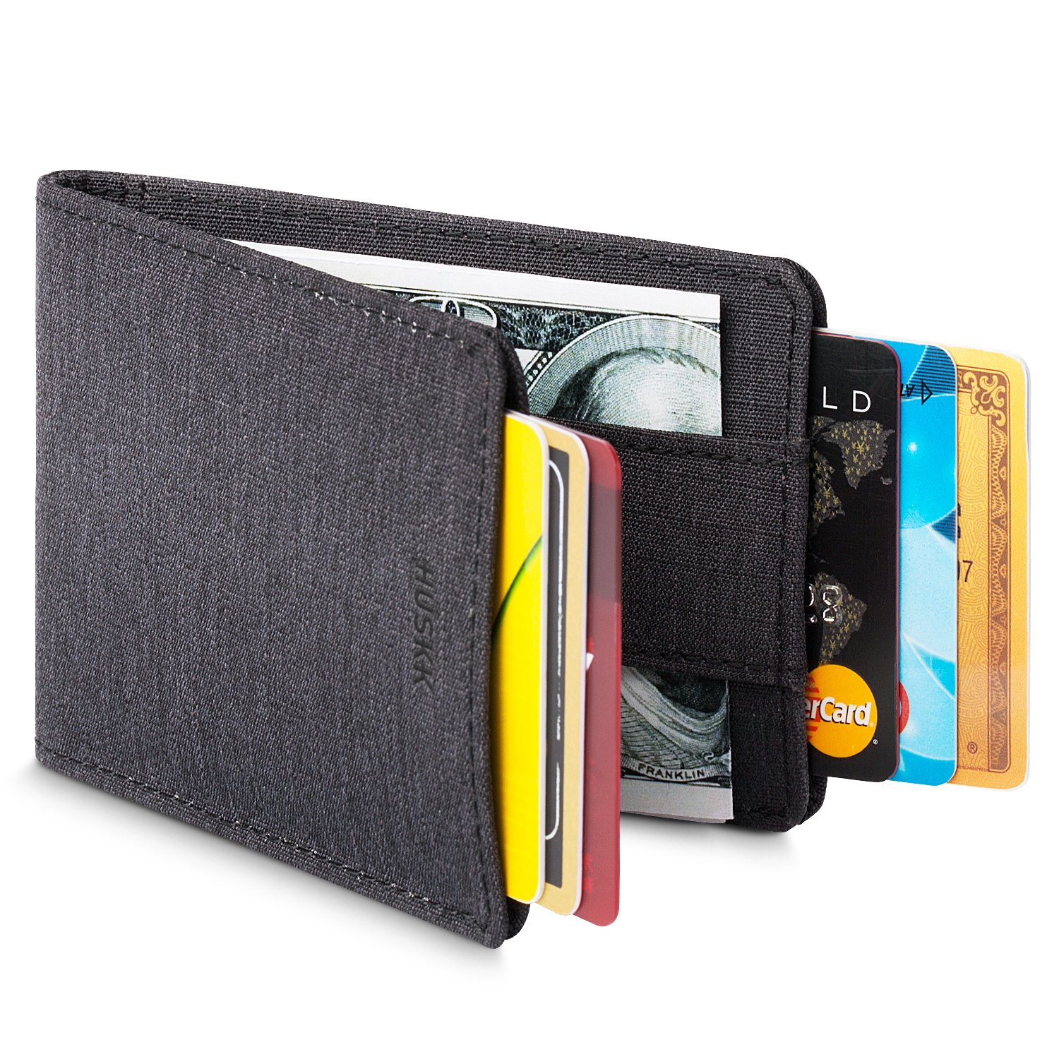 Men Wallet - RFID Minimalist Slim Front Pocket Card Travel Holder Clip CSBW HUSKK CSBW2-SB