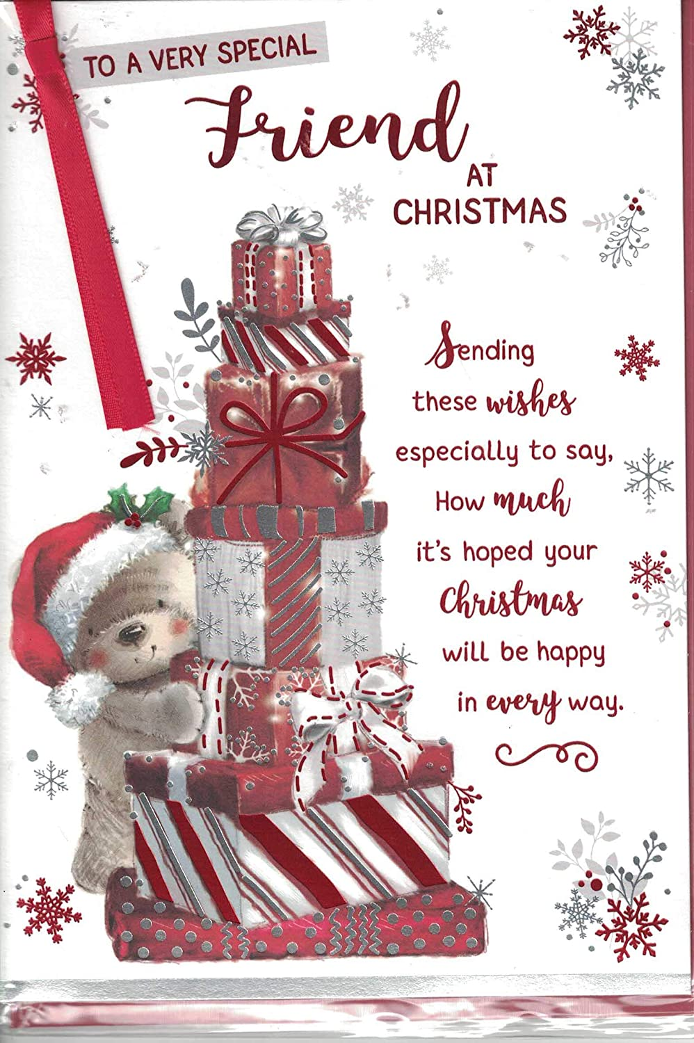 Christmas Wishes Card.Friend Christmas Card To A Very Special Friend Christmas Wishes Santa Bear Bunting Quality Card