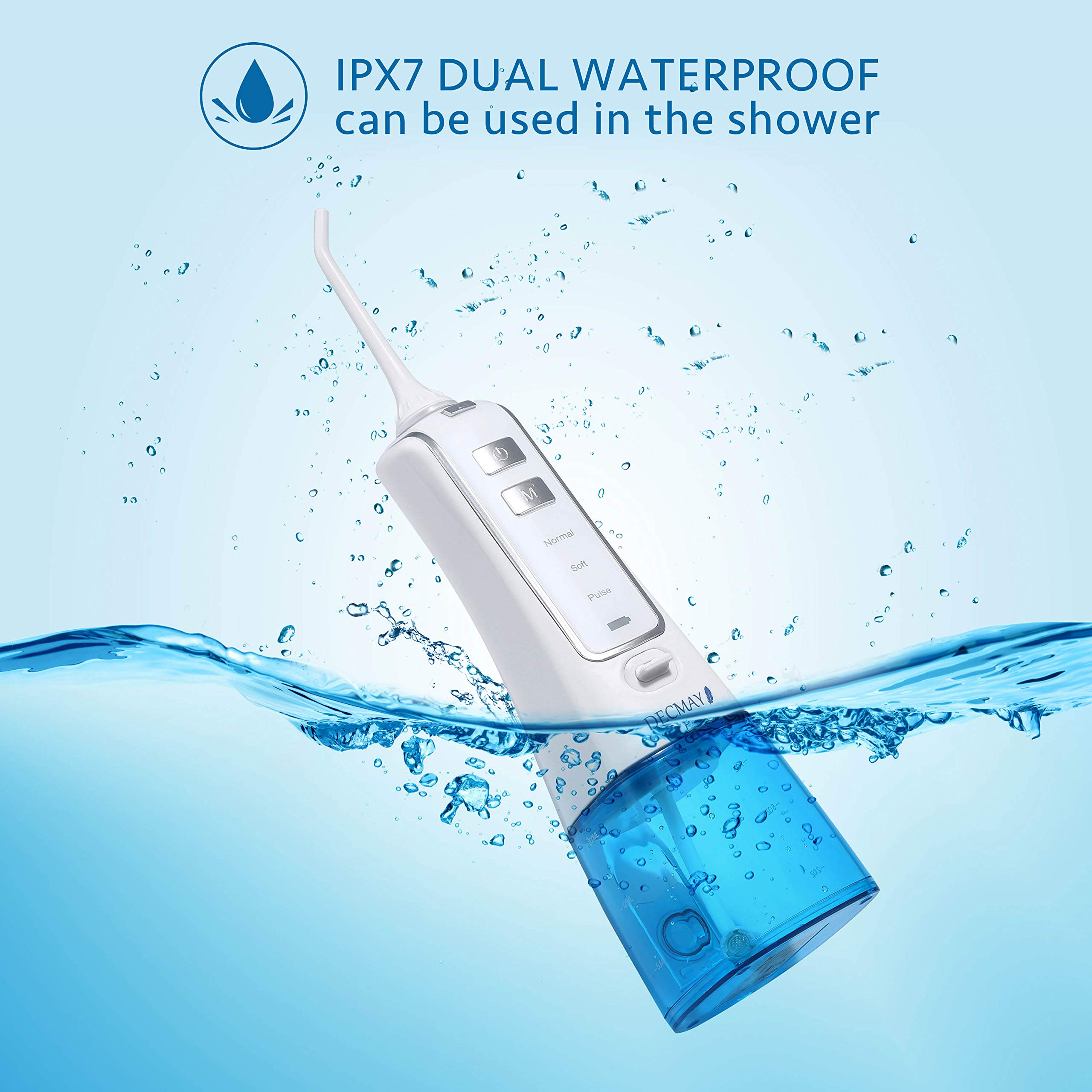 Cordless Water Flosser Rechargeable Oral Irrigator Portable for Teeth Dental Flosser with 3 Modes 4 Jet Tips for Braces, IPX7 Waterproof, 200ml Reservoir and LCD Battery Indicator, Travel and Home Use