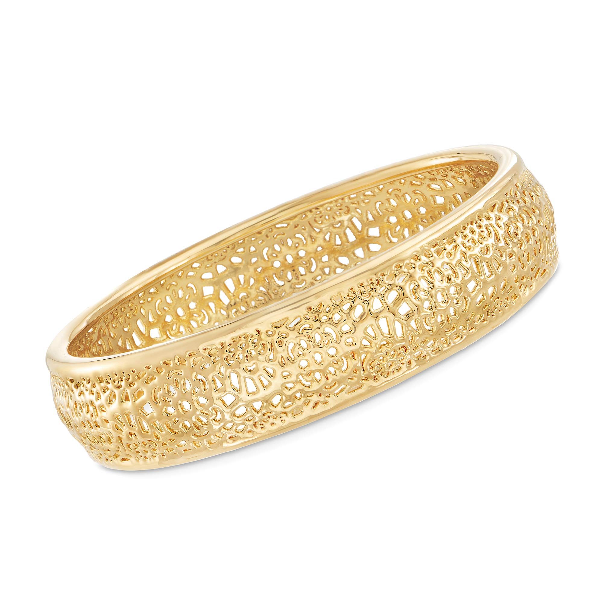 Ross-Simons Andiamo 14kt Yellow Gold Openwork Bangle Bracelet
