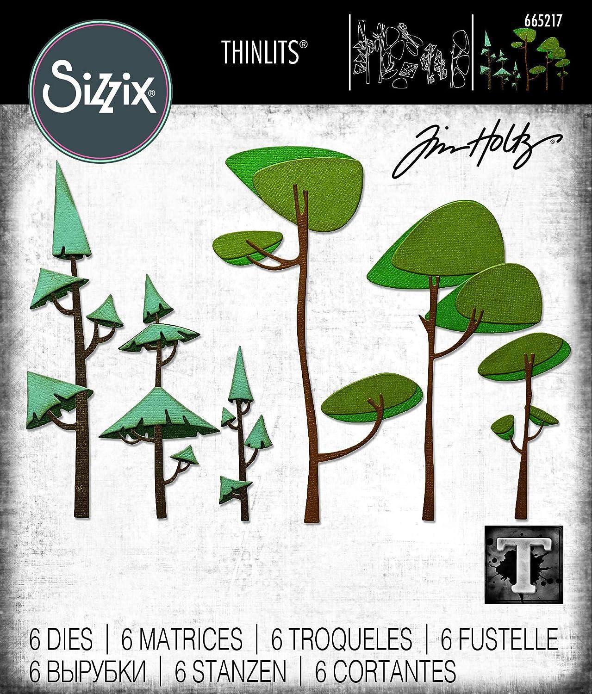 Sizzix 665217 Thinlits Arbres Funky par Tim Holtz Lot de 6 Matrices de d/écoupe pour scrapbooking Multicolor Taille unique