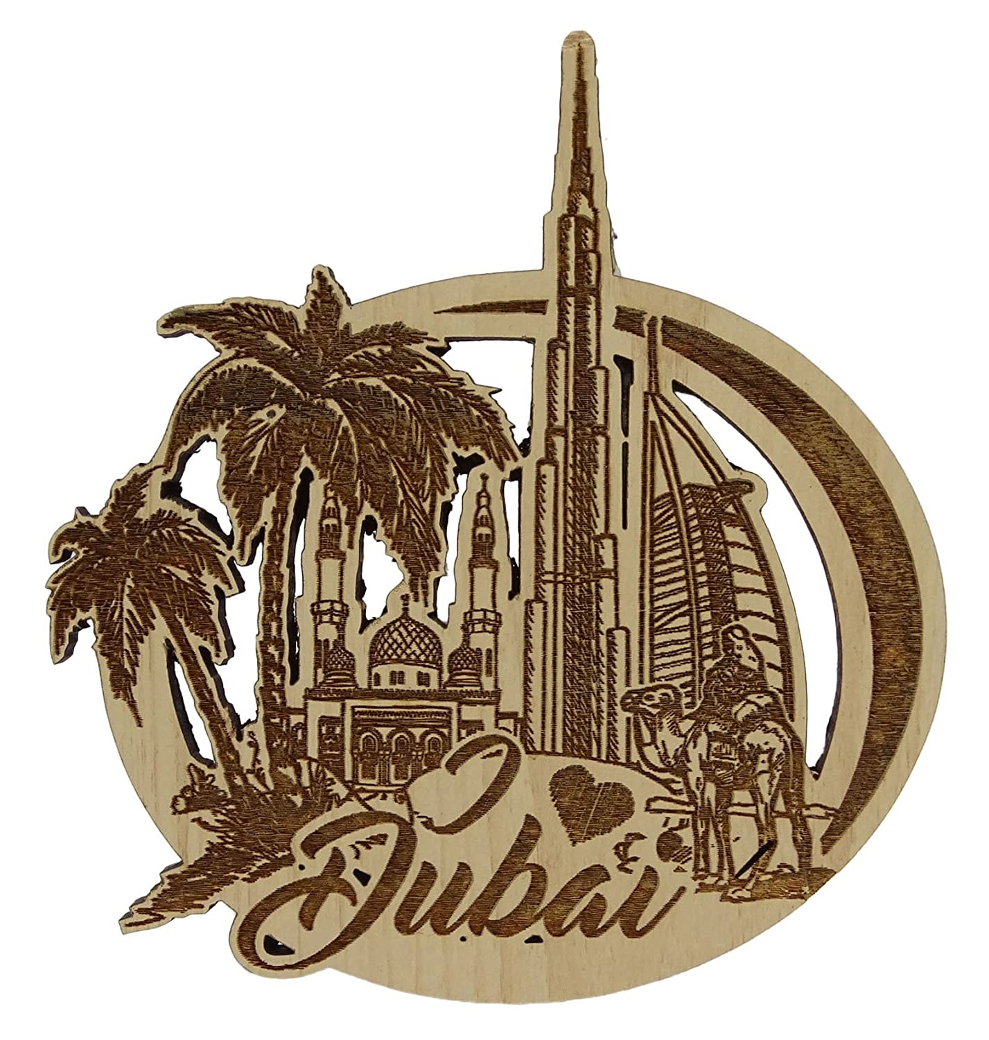 Dubai Wood Engraved Wooden Fridge Magnet Souvenir Gift