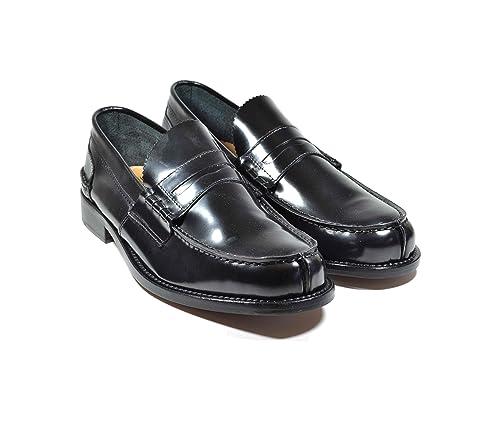 Saxone Of Scotland - Mocasines de Piel para Hombre Negro Negro: Amazon.es: Zapatos y complementos